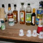 Les huiles et vinaigre
